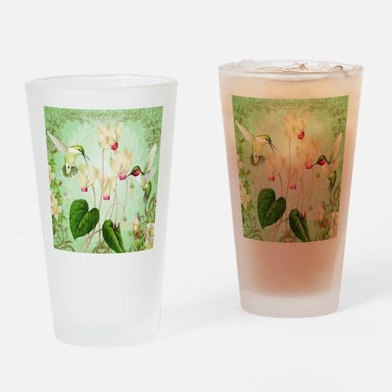 Modern Vintage French Hummingbirds Drinking Glass