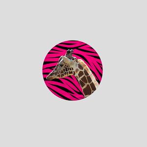 Giraffe on Hot Pink and Black Zebra Stripes Mini B