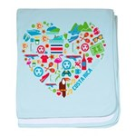 Costa Rica World Cup 2014 Heart baby blanket