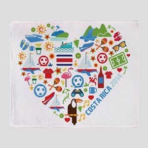 Costa Rica World Cup 2014 Heart Throw Blanket