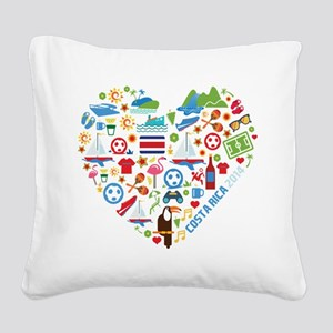 Costa Rica World Cup 2014 Hea Square Canvas Pillow