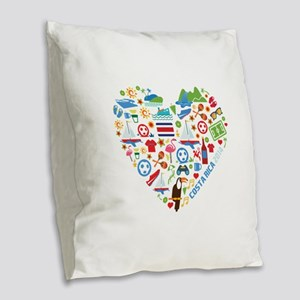 Costa Rica World Cup 2014 Hear Burlap Throw Pillow