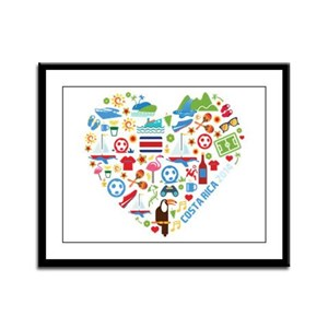 Costa Rica World Cup 2014 Heart Framed Panel Print