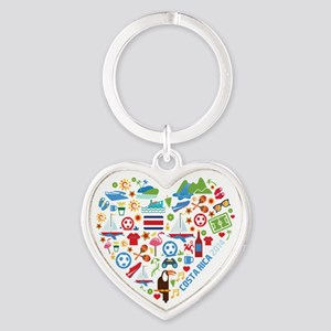 Costa Rica World Cup 2014 Heart Heart Keychain