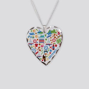 Costa Rica World Cup 2014 Hea Necklace Heart Charm