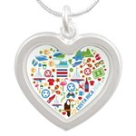 Costa Rica World Cup 2014 He Silver Heart Necklace