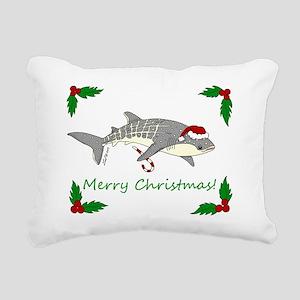 xmas whale shark Rectangular Canvas Pillow