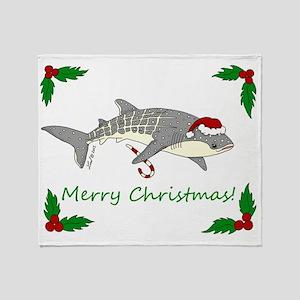 Xmas Whale Shark Throw Blanket