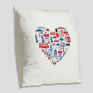 England World Cup 2014 Heart Burlap Throw Pillow
