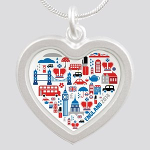 England World Cup 2014 Heart Silver Heart Necklace