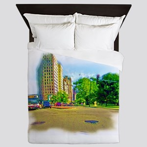 Air Brushed Painting of Lincoln Avenue Queen Duvet