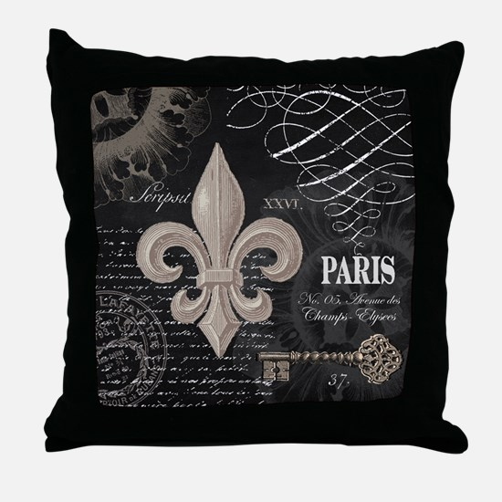Modern Vintage French Fleur de Lis Throw Pillow