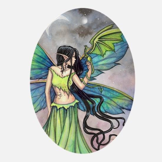 Emerald Dragon and Fairy Fantasy Art Ornament (Ova