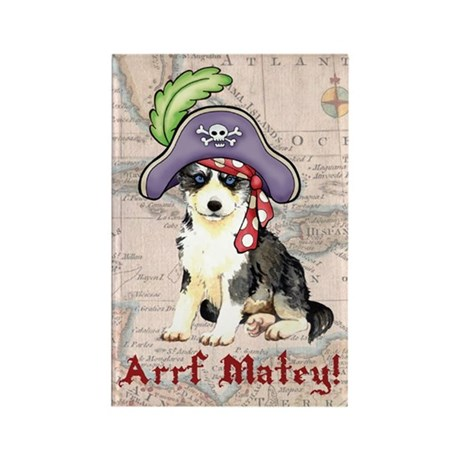 Husky Pirate Rectangle Magnet