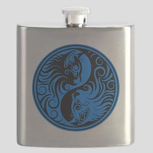 Blue and Black Yin Yang Kittens Flask