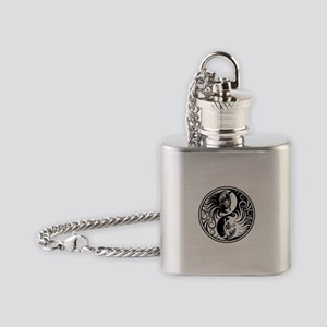 White and Black Yin Yang Kittens Flask Necklace