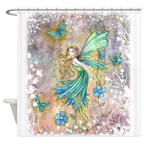 Enchanted garden fairy fantasy art shower curtain by robmolily for Fantasy shower curtains
