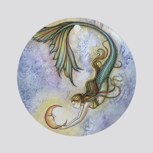 Deep Sea Moon Mermaid Fantasy Art Ornament (Round)