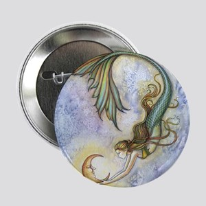"Deep Sea Moon Mermaid Fantasy Art 2.25"" Button"