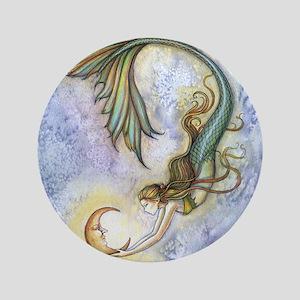 "Deep Sea Moon Mermaid Fantasy Art 3.5"" Button"