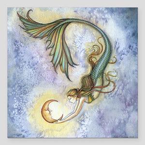 "Deep Sea Moon Mermaid Fa Square Car Magnet 3"" x 3"""
