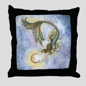 Deep Sea Moon Mermaid Fantasy Art Throw Pillow