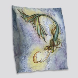 Deep Sea Moon Mermaid Fantasy Burlap Throw Pillow