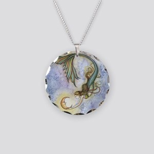 Deep Sea Moon Mermaid Fantas Necklace Circle Charm