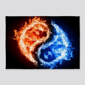 Fire And Water Yin Yang 5'x7'Area Rug