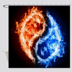 Fire And Water Yin Yang Shower Curtain
