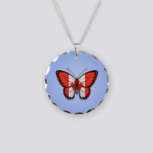 Canadian Flag Butterfly on Blue Necklace Circle Ch