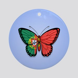 Portuguese Flag Butterfly on Blue Ornament (Round)