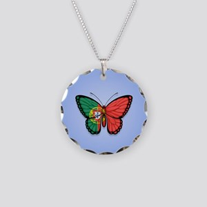 Portuguese Flag Butterfly on Blue Necklace Circle