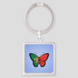 Portuguese Flag Butterfly on Blue Keychains