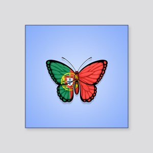 Portuguese Flag Butterfly on Blue Sticker