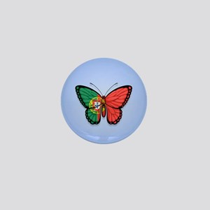 Portuguese Flag Butterfly on Blue Mini Button