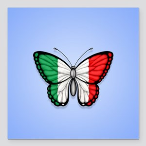 Italian Flag Butterfly on Blue Square Car Magnet 3