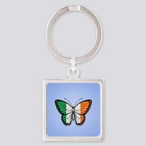 Irish Flag Butterfly on Blue Keychains