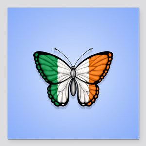 """Irish Flag Butterfly on Blue Square Car Magnet 3"""""""