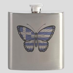 Greek Flag Butterfly Flask