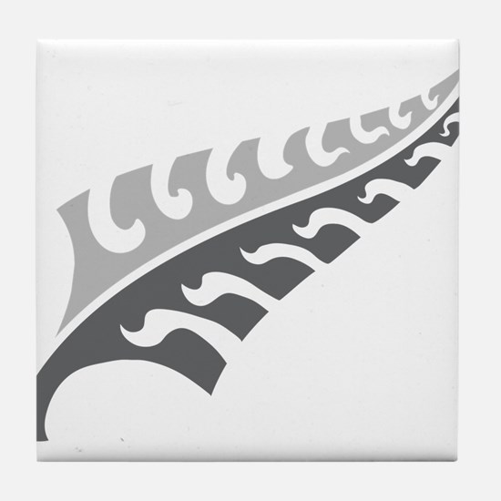 Tattoo silver fern (New Zealand kiwi emblem) Tile