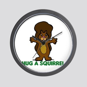 Hug a Squirrel Wall Clock