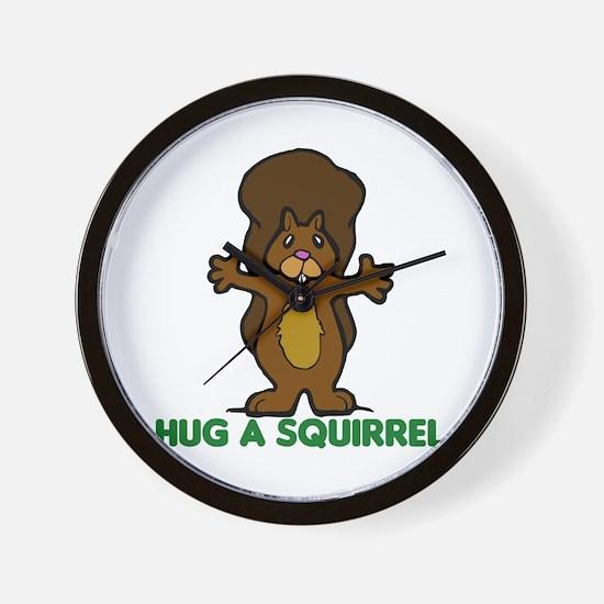 Hug a Squirrel Wall Clock