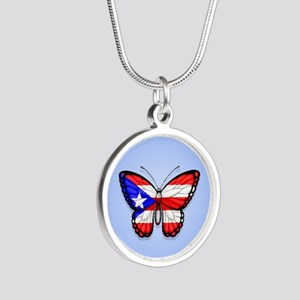 Puerto Rican Flag Butterfly on Blue Necklaces