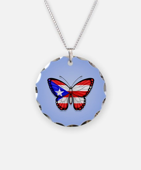 Puerto Rican Flag Butterfly on Blue Necklace