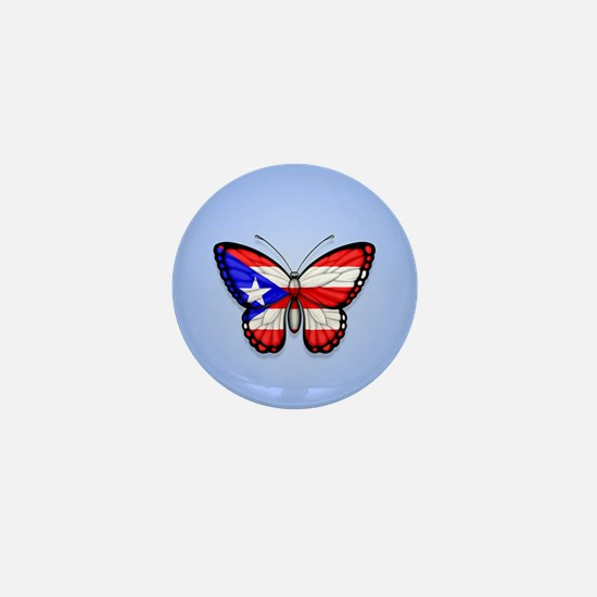 Puerto Rican Flag Butterfly on Blue Mini Button