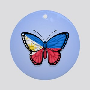 Filipino Flag Butterfly on Blue Ornament (Round)