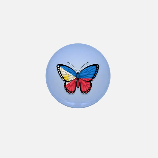 Filipino Flag Butterfly on Blue Mini Button