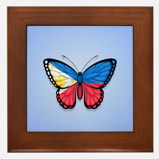 Filipino Flag Butterfly on Blue Framed Tile