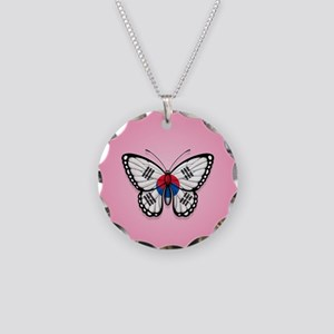 South Korean Flag Butterfly on Pink Necklace Circl
